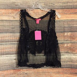 Betsey Johnson sheer embroidered sequin vest